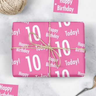 10th Birthday Pink Gift Wrapping Paper & Tags (1 Sheet & 2 Tags) - 'Happy Birthday' - '10 Today'